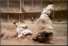 Joe DiMaggio Sliding into Third at old Briggs Stadium (Tigers) in 1946.