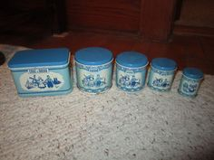 4 Vintage Wolverine Child's Toy Canisters & 1 Bread Box Dutch Blue/White #Wolverine