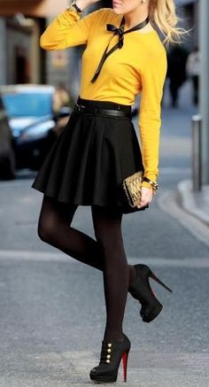 Classic black skirt with mustard sweater. | Spring Style