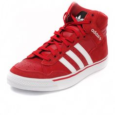 Adidas Originals Mens Pro Con Hi Top Mid Trainers Red Leather Sizes 8 to 10.5