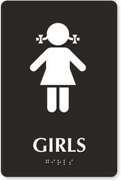This girls bathroom sign indicates a the bathroom is for women only. I classified it as confusing because at a glance you may not notice the pigtails and assume it was a guys restroom! This sign takes low cognitive effort as long as you don't miss the pigtails. This was found in the virtual domain.