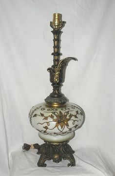 Vintage Falkenstein Art Nouveau Style Table Lamp Satin Glass Cast Bronze #ArtNouveau #Falkenstein