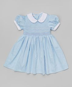 Loving this Blue & White Smocked Piqué Dress - Infant & Toddler on #zulily! #zulilyfinds