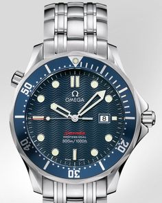 "Omega Seamaster Professional 300M. The original Omega watch worn by Pierce Brosnan in ""GoldenEye"" (1995), ""Tomorrow Never Dies"" (1997), ""The World Is Not Enough"" (1999), and ""Die Another Day"" (2002)."