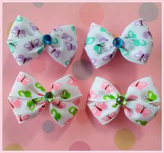 Butterfly Bitsy Bows 2 pairs by Flowers4Emily on Etsy