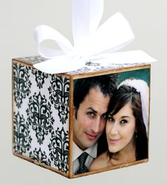 Wedding Ornament make out of invitation and picture