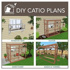 We build attractive catios and offer Catio Spaces DIY CATIO PLANS and cat enclosures for a healthy and happy cat! Diy Cat Enclosure, Outdoor Cat Enclosure, Cage Chat, Catio Ideas For Cats, Cat Cages, Cat Playground, Outdoor Cats, Cat House Outdoor, Outdoor Cat Cage