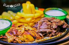 For Shawarma lovers, enjoy the special mixed chicken and beef shawarma skillet with garlic and Tarator sauce