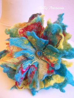 Felt flower brooch multicolored by ArteAnRy on Etsy, Bead Sewing, Felt Brooch, Wet Felting, Flower Brooch, Felt Flowers, Merino Wool, Beautiful Flowers, Glass Beads, Shapes