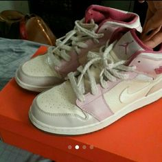 Air jordans Pink Jordan's || good/fair condition Worn a handful of times 6.5 an 8 in women's Doesn't come in original box Bit dirty but has alot of life left to them air jordans Shoes Sneakers