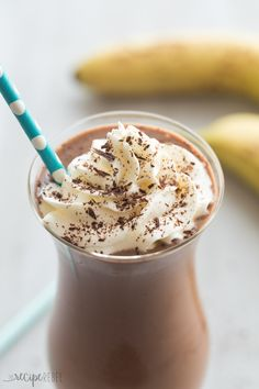 This Healthy Chocolate Peanut Butter Smoothie is full of good-for-you ingredients but tastes totally decadent! The perfect sweet summer treat with a Chunky Monkey twist :)