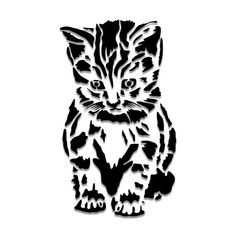 Kitten / Baby Cat Stencil or Vinyl Decal-- Matte Mylar Stencil. Great for stenciling on fabric, paper, and walls!