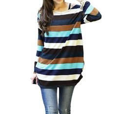 2017 Korean Fashion Women Striped Print Knitted Top Long Sleeve Casual Sweaters And Pullovers Loose Long Jumper Pull Femme XXL #ANSELF #sweaters #women_clothing #stylish_sweater #style #fashion