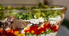 sałatka warstwowa, sałatka, sałatka z brokułem, sałatka z pieczarkami, sałatka z brokułem i pieczarkami, sałatka z brokułami, dodatki do wędlin, dania na imieniny, dania na imprezy, sałatka na imprezę, kolorowa sałatka na imprezę, kolorowa sałatka Mashed Potatoes, Detox, Beef, Ethnic Recipes, Food, Lilac, Whipped Potatoes, Meat, Smash Potatoes