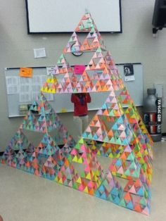 year my math class created a Sierpinski pyramid A Sierpinski pyramid…what an exciting geometry project!A Sierpinski pyramid…what an exciting geometry project! Math Teacher, Math Classroom, Teaching Math, Teaching Geometry, Teaching Ideas, Teaching Multiplication, Math Fractions, Math Art, Fun Math