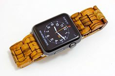 Handcrafted Wooden Band for Apple Watch - Stainless Steel Butterfly Clasp with Adjustable Links - 4 Natural Hardwood Options Men and Women Strap and Bracelet Sizes 38mm 42mm - By Wood Mark Wood Mark