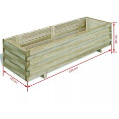 Jardinera rectangular madera FSC 120x40x30 cm - Casa Patio, Plant Projects, Green School, Wooden Planters, Wooden Shelves, Raised Beds, Outdoor Furniture, Outdoor Decor, Lawn And Garden