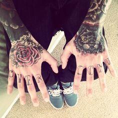 o v e r c o m e - hand / finger / knuckle tattoos