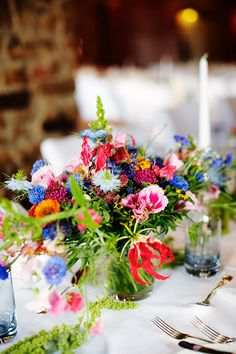 colorful summer flowers on table