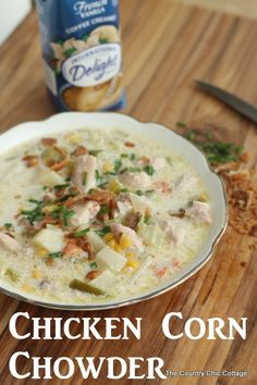 Chicken Corn Chowder Recipe -- a great recipe for cool winter nights! @indelight #idelight #recipe