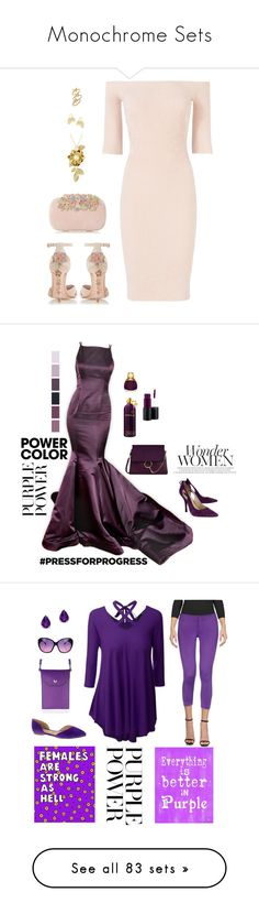 """""""Monochrome Sets"""" by alara-cary ❤ liked on Polyvore featuring Dune, Helmut Lang, Kate Spade, Joan & David, Chloé, Montale, MAC Cosmetics, Christian Dior, purplepower and internationalwomensday"""