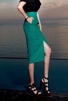 Linen Skirt  green skirt long skirt summer skirt dint 딘트