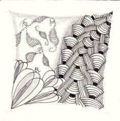 Ein Zentangle aus den Mustern Spinner, Plaited, Fairy Wings,  gezeichnet von Ela Rieger, CZT