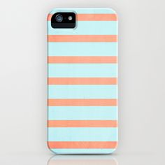 stripes (coral & blue) iPhone & iPod Case by daniellebourland - $35.00