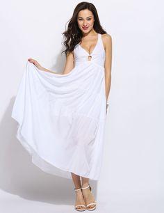 Women Sleeveless Halter V Neck Cut Out Backless Casual Beach Dress