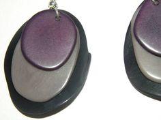 dangle drop earrings earhooks with black grey and by MaisonDelclef