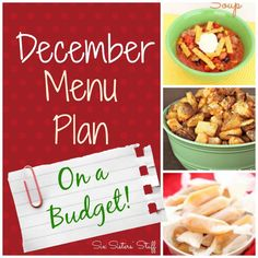 Six Sisters' December Menu Plan on a Budget! #budgetmenu #sixsistersstuff
