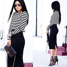 Skirt Inspiration: Black Pencil done right ✔️