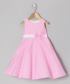 Take a look at this Dimples Pink Polka Dot Bow Dress - Infant, Toddler & Girls on zulily today!