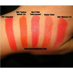 """@nessasarymakeup-#statigram   Swatches of some coral & orange lipsticks.Wet n Wild lipstick in """"Salsa Lessons"""" is the closest dupe for MAC lipstick in """"Hibiscus"""" which was a limited edition lippie (LE). It actually matches better in person than in the pic, salsa lessons has a bit more shimmer and is a tinge darker and Hibiscus is more sheer."""