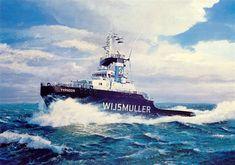 Nautical Painting, Nautical Art, Ship Paintings, Tug Boats, Ship Art, Holland, Transportation, Waves, Sky