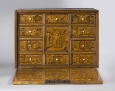 Luxury Cabinet, Pine and oak with Hungarian ash, maple, and various fruitwood inlays; iron mounts, Germany, 1575-1600