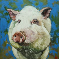 Pig painting 14 18x18 inch original oil painting by Roz by RozArt, $170.00