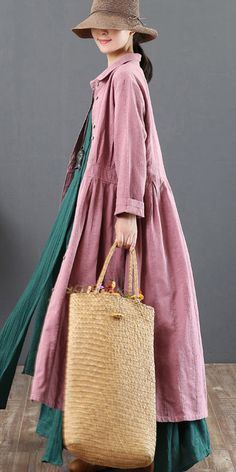 new fine pink long dresses loose casual lapel collar clothings tunic maxi dress Modesty Fashion, Abaya Fashion, Boho Fashion, Fashion Dresses, Simple Dresses, Casual Dresses, Long Dresses, Long Jackets For Women, Hijab Fashion Inspiration