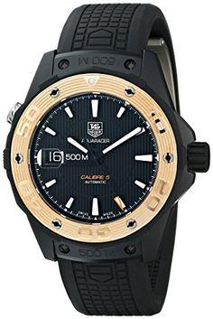 nice TAG Heuer Men's WAJ2182.FT6015 Aquaracer Analog Display Swiss Automatic Black Watch