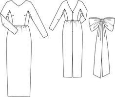 V Back Wedding Dress with Bow 03/2014 #127 240 x 4.55 m, 140 x 1.70  lining, 40 cm zip
