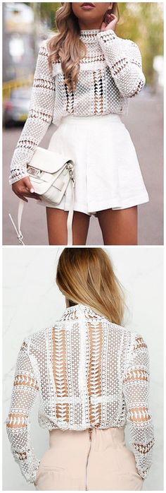White Lace Blouse with Hollow Design US$17.95