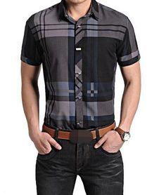 2016 Short Sleeve Mens Dress Shirts Man Plaid Brand Clothing Plaid Shirt Social Slim Fit Blouse Floral Print Military Style