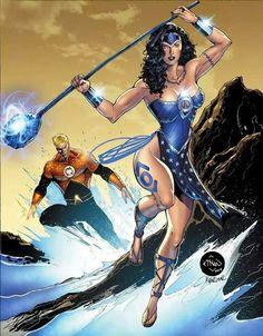 Indigo Wonder Woman & Orange Lantern Aquaman By Ethan Van Sciver, Colored By Kyle Ritter Heros Comics, Dc Comics Art, Comics Girls, Dc Heroes, Marvel Dc Comics, Cosmic Comics, Comic Book Characters, Comic Character, Comic Books