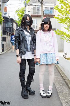 YMC and Chan Ri on the street in Harajuku. YMC is wearing a face mask and items from Sex Pot Revenge and Milk Boy. Most of Chan Ri's pastel look is from Milklim Harajuku.