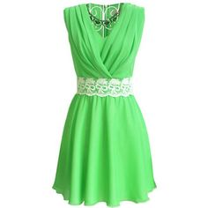 Green short dress with a lace belt... This is gorgeous