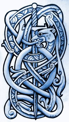 ✿ Tattoos ✿ Celtic ✿ Norse ✿ Sea Serpent and Broadsword by Tattoo-Design