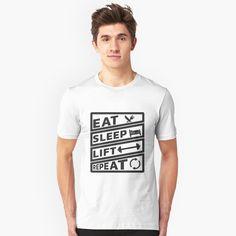 """Eat Sleep Handball Repeat"" T-shirt by favorite-shirt T Shirt Designs, Funny Fathers Day Gifts, Black Walls, Eat Sleep, Slim Fit, Tshirt Colors, Chiffon Tops, Classic T Shirts, Mens Tops"