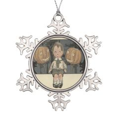 Boy Jack O Lantern Black Cat Night Stars Ornaments
