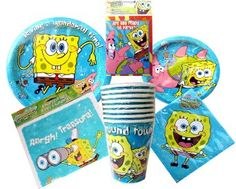 Amazon.com: SpongeBob SquarePants Theme Birthday Party or Pool Party Package ~ Invitations, Thank-You Postcards, Dinner Plates, Dessert Plates, Napkins, Cups, and Loot Bags (Treat Sacks) ~ Serves 8 Guests: Toys & Games