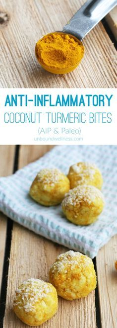 Anti-inflammatory coconut turmeric bites AIP , Paleo and Gluten & Dairy Free Real Food Recipes, Diet Recipes, Cooking Recipes, Healthy Recipes, Diet Tips, Chicken Recipes, Recipies, Recipes Dinner, Healthy Foods